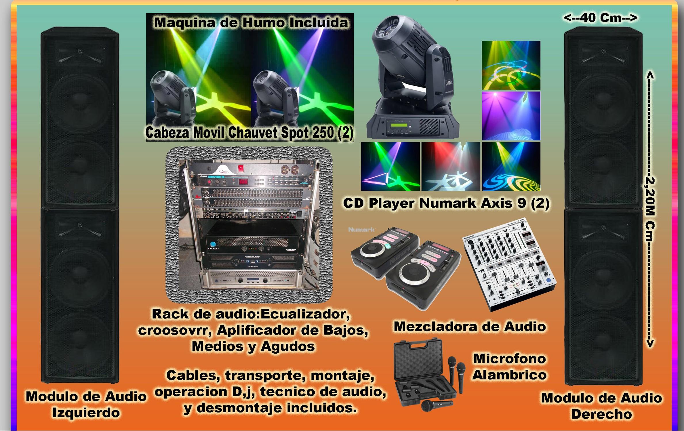 Paquete sonido x basico con iluminacion